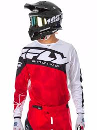 fly motocross gear fly racing red white black 2017 kinetic crux mx jersey ebay