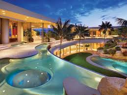 House With Swimming Pool Luxury Home Backyard Pool Two Spas A Tunnel Slide And A Swim Up