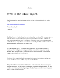 about us what is the bible project by tatenda kangwende issuu