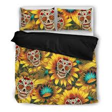Sunflower Bed Set Buy Sunflower Skull Bedding Set Free Shipping 2 Matching Covers