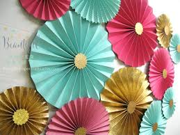 paper fan backdrop 12pc hot pink aqua and gold glitter rosettes paper fans
