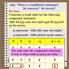 What Is A Truth Table Aim Conditional Converse U0026 Inverse Course Math Lit Aim What