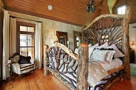 rustic bedroom ideas foxy bed with interesting pillow fan on wood