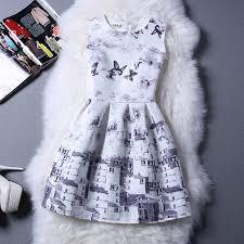 cartoon castle summer sleeveless girls print dress knee length