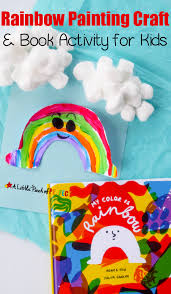 rainbow color painting craft and book activity for kids