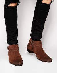 image 1 of asos chelsea boots in brown suede with buckle strap