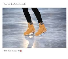 Figure Skating Memes - how newyorkers ice skate timbs know your meme