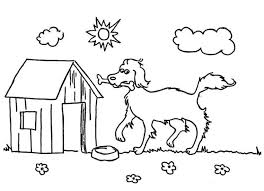 dog house coloring pages a happy dog and its lovely home coloring page a happy dog and its