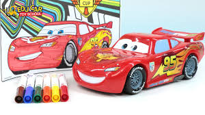 kid car drawing learning color number with special disney pixar cars lightning