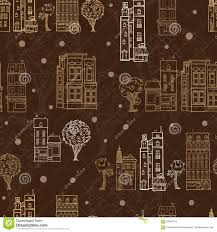 Travel Themed Home Decor by Vector Chocolate Brown Town Houses Trees Streets Drawing Seamless