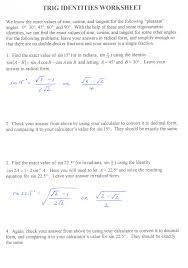 trigonometric identities worksheet free worksheets library