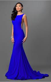 jovani dresses womens low back royal blue jersey dress womens