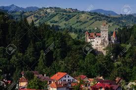 the bran castle and bran city transylvania romania stock photo