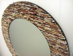 neutral round mirror wall art made from recycled magazines