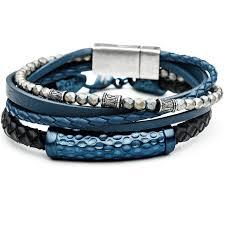 mens bracelet beads images Waverider blue mens bracelet leather steel stack with hematite beads png