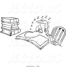 vector tired cartoon man sleeping book