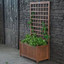 wood planter box on wheels with grid style trellis