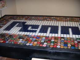bottle cap table designs my hubby made me one of these when we first were married it was