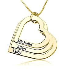 3 name necklace hacool personalized 925 sterling silver heart pendant name