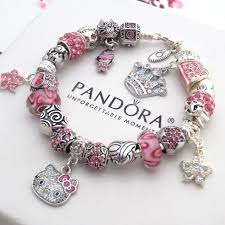 pandora silver link bracelet images Authentic pandora silver bracelet with charms pink hello kitty jpg