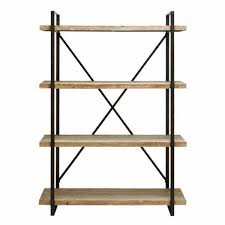 industrial metal and wooden shelf tall bookcase