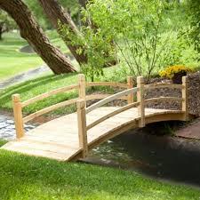 yard bridge wooden garden bridge wood walkway pond outdoor yard decorative