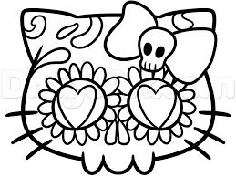 kitty sugar skull drawing lesson step 5 art
