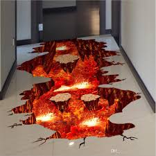 3d volcanic magma floor stickers diy removable pvc decal