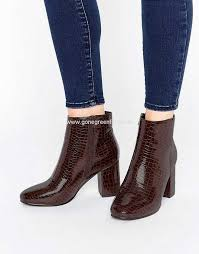 womens boots uk asos asos rosaline heeled ankle boots burgundy patent croc womens