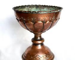 Copper Pedestal Vintage Copper Bowl Etsy