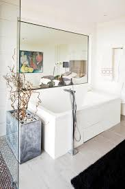 rectangular mirror in the bathtub in the bathroom light interior