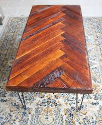 Diy Reclaimed Wood Table Top by Remodelaholic Diy Wood Herringbone Coffee Table With Hairpin Legs