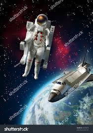 space shuttle astronaut astronaut space shuttle exploring space near stock illustration
