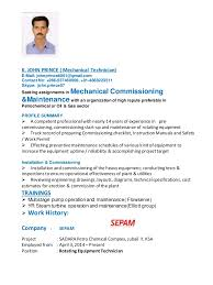 Maintenance Technician Resume Resume Of John Prince Rotating Equipment Technician