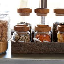 Kitchen Glass Canisters With Lids Artisan Glass Canisters With Oak Lids The Container Store