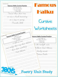 cursive handwriting sheets poetry unit study u2013 3 boys and a dog