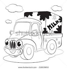 contour blackwhite cartoon merry mini car stock vector 171481520