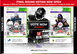 madden nfl 25 cover vote athlete adrian peterson or barry sanders