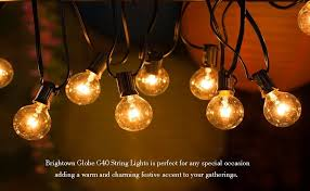 Christmas Decoration Lights 25ft G40 Globe String Lights With Clear Bulbs Ul Listed Backyard