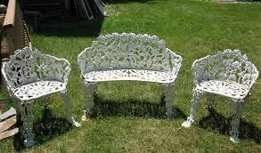 amazing white metal outdoor furniture with white cast iron garden