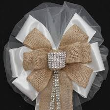 wedding bows bling and burlap rustic wedding bows pew church aisle decorations