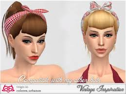 the sims 4 cc hair ponytail the sims resource ponytail bang hairstyle by colores urbanos