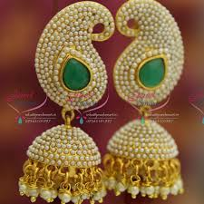 fancy jhumka earrings e4227 exclusive synthetic rice pearl mango jhumka light gold