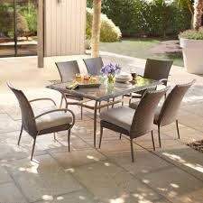 The Home Depot Patio Furniture by Hampton Bay Posada 7 Piece Patio Dining Set With Gray Cushions 153