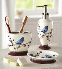 bird bathroom accessory set blue bird floral bath decor birdhouse