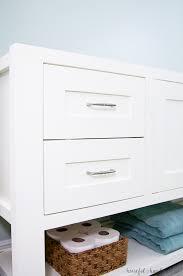 mission style open shelf bathroom vanity build plans a houseful