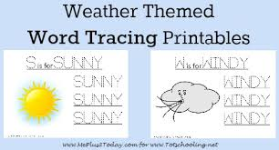 free weather themed word tracing printables totschooling