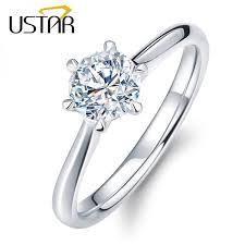 zircon engagement rings ustar classic six claw 1 carat 6mm zircon wedding rings for