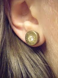 bullet stud earrings bullet casing stud earrings bronze with clear swarovski
