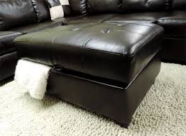 Storage Ottoman Canada Sacramento Espresso Leather Sectional Sofa With Left Facing Chaise